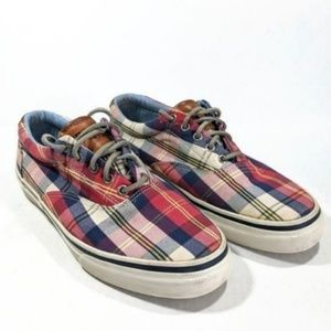 Sperry Red Plaid Checkered Canvas Boat Shoes 9.5